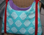 Teal Printed & Textured Lavender Open Top Hobo Tote