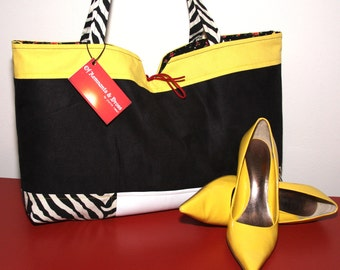Rascal Zebra Yellow Colorblock and Black Microsuede Tote w/ White Faux Leather