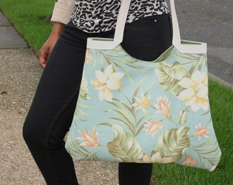 SALE - In The Garden Floral Hobo Tote Lined in Green