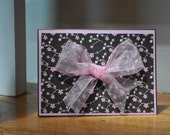 Cherry Blossom and Bow Handmade Card