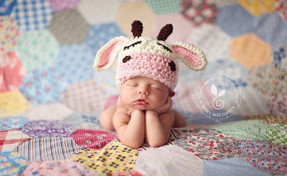 Sleeping cow farm animal hat