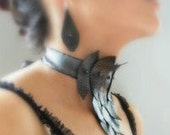 """Whimsical Leather Choker and earings """"Black-silver leaves"""" with ribbon and glass beads, handmade jewelry"""
