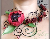 Anemone flower wire and polymer clay necklace