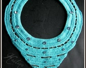 Crochet turquoise bib necklace with chain and crystal rivets, handmade, ooak