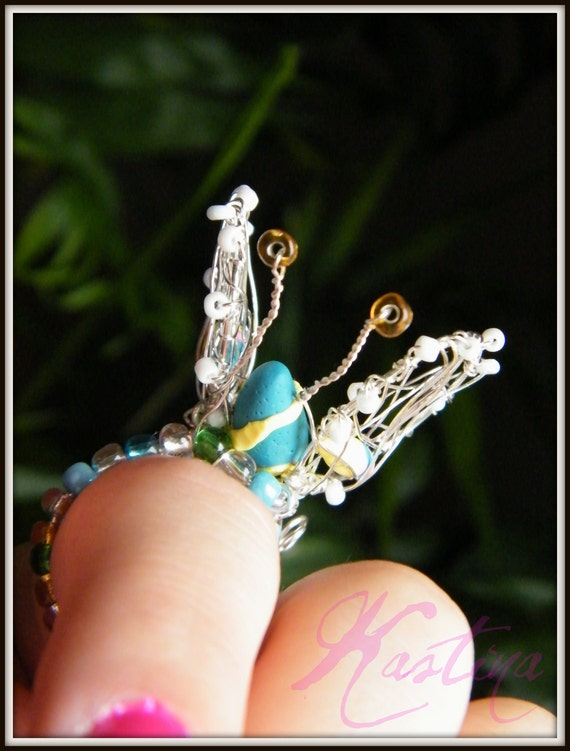 """Wire wrapped ring """"butterfly"""", whimsical, unique, handmade"""