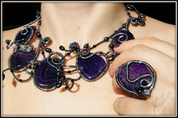 Purple stone necklace  with wrapped wire Swarovski crystals and fresh water pearls, ooak, handmade(made by order)