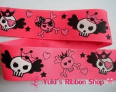 "5 Yards of Hot Pink Princess Tiara Skulls Eye Patch Gothic Punk 1 1/2"" Grosgrain Ribbon for hairbows, lanyard, sewing etc."