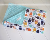 Minky Cuddle Baby Boy Owl and Tiffany Blue - Baby Blanket - Baby Shower Gift - Photo Prop