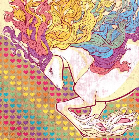 Rainbow Unicorn 13x13 Art Print. On fine art matte velvet paper. Open edition.