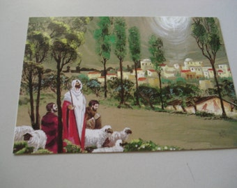 Vinatge Christmas Card Of  A Sheppard and His Sheep