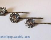 Glass Cabochon Nail Polish Vintage Bobby Pins- Jewelry Heist - Set of 3