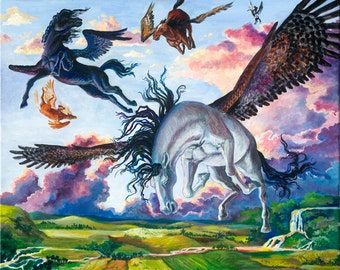 "Pegasus Flying Horse unframed Giclee 11""x14"" print ""O To Fly"""