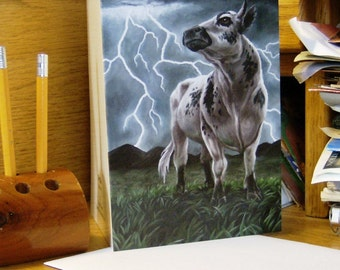 """Cow Notecards 5 Pack, from the painting """"TipThis"""""""
