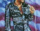 Elvis Presley The King '68 comeback art print 12x17 signed and dated Bill Pruitt