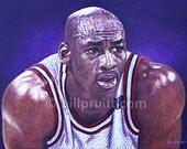 Michael Jordan The Bulls NBA art print 12x16 signed and dated Bill Pruitt