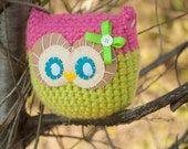 SALE OOAK Owl Amigurumi - Pink and Green, Pillow, Plush, Ready To Ship