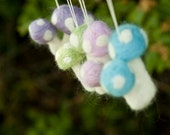 Pastel Felted Toadstool Ornament