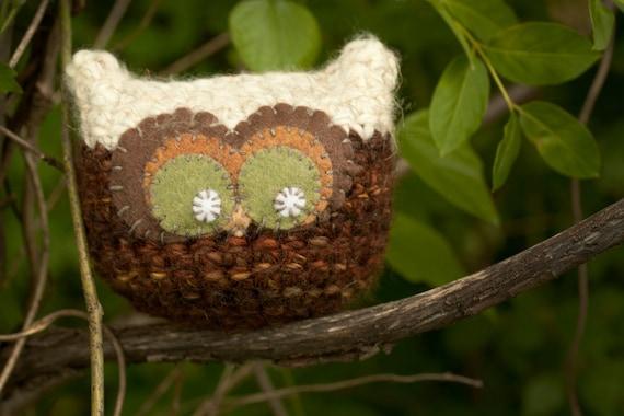 Baby Owl Amigurumi - Autum Decor, Fall, Cabin Decor, Pillow, Plush, Ready To Ship