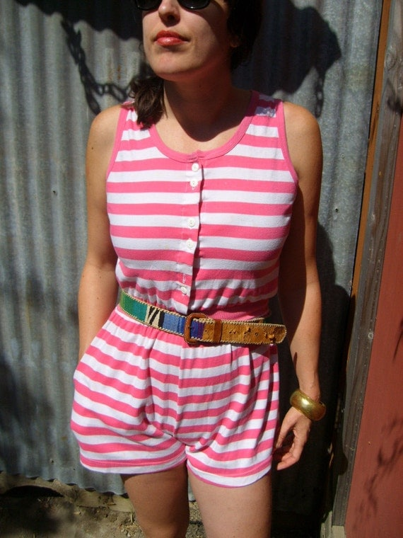 80s ROMPER striped cotton playful summer jumpsuit