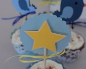 Baby boy shower cupcake toppers and sleeves