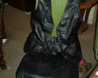Vintage Show Biz Leather Skirt and Vest
