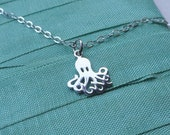 Silver charm necklace, STERLING SILVER, Octopus charm, simple, minimalist, everyday, ocean life, silver jewelry, single charm, pendant
