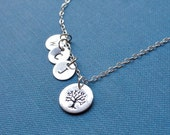 Family tree necklace, sterling silver, custom initial necklace, mother's jewelry, gift, anniversary, children's initials, tree of life