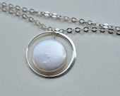 Eternity circle necklace Sterling silver Freshwater coin pearl, bridesmaids, bridal jewelry, simple, everyday