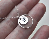 Simple bridesmaid necklace Sterling silver eternity circle Personalized stamped letter charm