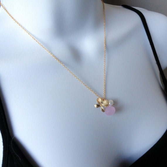 Orchid charm necklace, GOLD FILLED,wire wrapped, soft pink Chalcedony briolette,fresh water pearl, Romantic, Sweet, lovely gift, flower