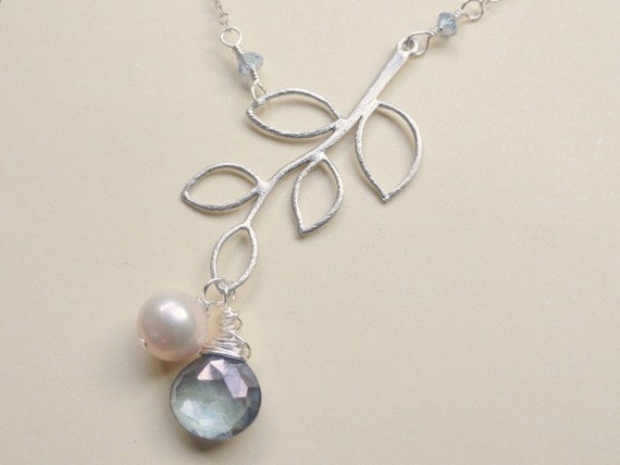 Silver branch necklace, STERLING SILVER, Blue Quartz briolette, wire wrapped, fresh water pearl, bridal, bridesmaid, something blue