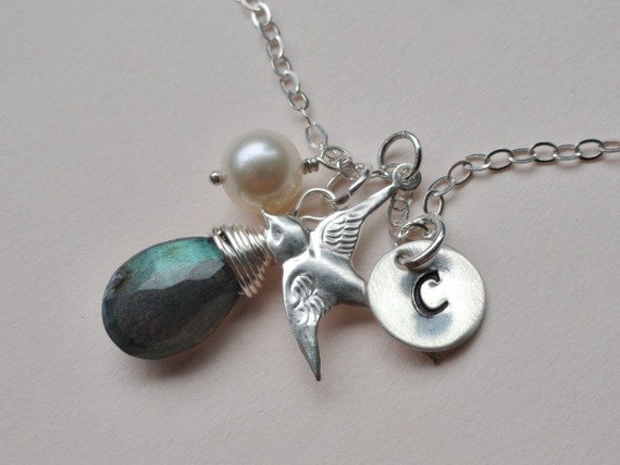 Mother bird necklace Personalized initial charm Labradorite gemstone Pearl Sterling silver jewelry