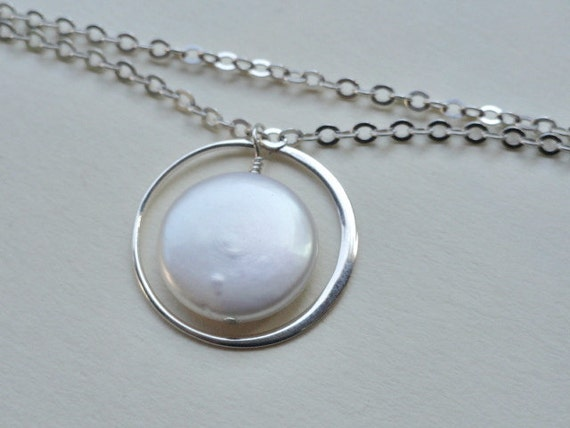 Eternity Circle Pearl Necklace Sterling silver Freshwater Coin Pearl Elegant Bridesmaids Gifts Bridal Shower Jewelry