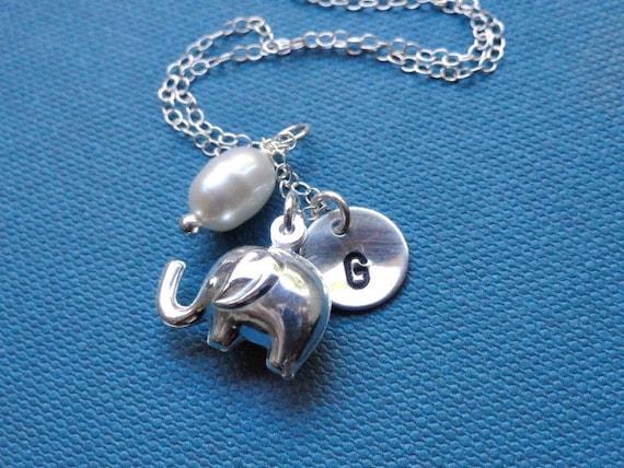Elephant necklace sterling silver Personalized Initial charm Jewelry, elephant jewelry, lucky elephant, silver elephant