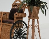 """MADE TO ORDER Miniature Wicker Fern Plant Stand for Dollhouses 1"""""""