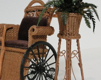 MADE TO ORDER Miniature Wicker Fern Plant Stand for Dollhouses 1""