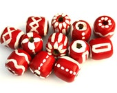Hand Painted Beads - Wood Beads with Red and White Ethnic African Patterns - 12 pcs