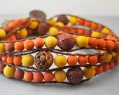 Mala Wrap Necklace with Orange and Yellow Earthy Wood Beads and Hand Carved Wooden Beads