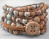 4x Rustic Wrap Bracelet OOAK with Verdigris Green and Terracotta Polymer Clay Beads on Hemp with Handmade Button Closure