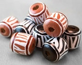 Zebra Animal Print Large Beads - Hand Painted Wood - Earth Tones Black and White- Barrel Shape Set of 2