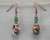 Fused Glass Bead Earrings with Copper Wire Wrap in Green Violet Gold