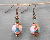 Fused Glass Floral Bead Copper Wire Wrap Earrings in Turquoise White and Nude Pink