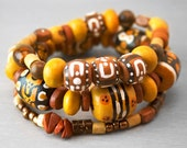 Tribal Bead Stack Bracelet  Set - Hand Painted Chunky Bohemian Wood Beads in Ethnic Patterns