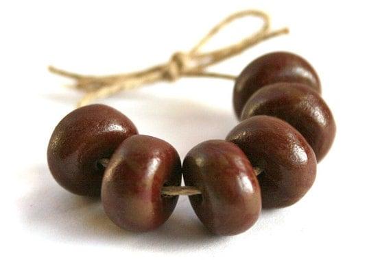 Handmade Polymer Clay Beads - Hazelnet Chocolate Brown - 14mm Rondelles 6 pcs
