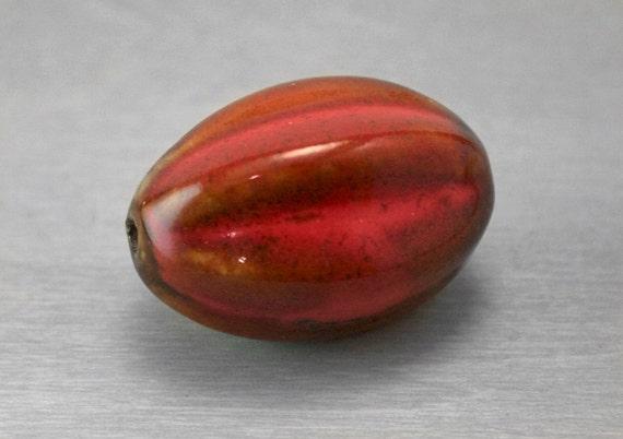 Extra Large Bead - Ceramic Bead - Focal Artisan Bead - Red and Amber
