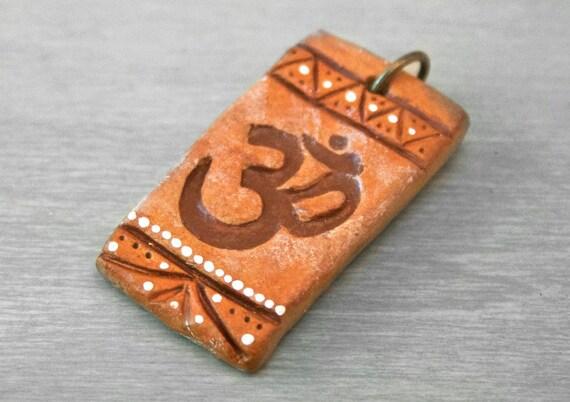 Orange Tribal Om Pendant Mala Charm