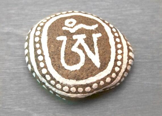 Hand Painted Stone - Zen Garden Meditation Stone - Om, Nature Rock Art