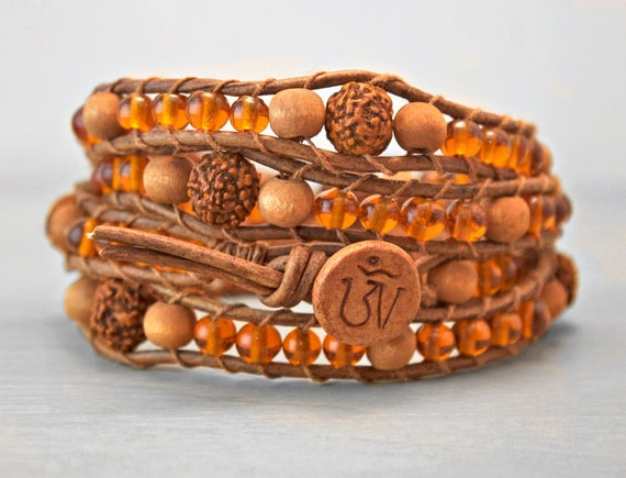 Wrist Mala Wrap Bracelet Buddhist Rosary with Rudraksha and Amber Glass Beads