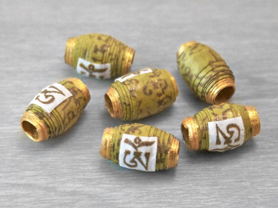 Buddhist Prayer Scroll Mantra Beads - Om Mani Padme Hum - Moss Green - 6 pcs