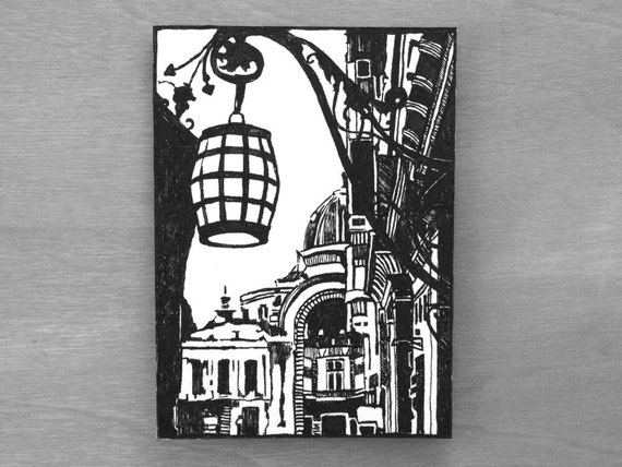 Urban Landscape Cityscape Original Ink Drawing ACEO ATC Artist Trading Card